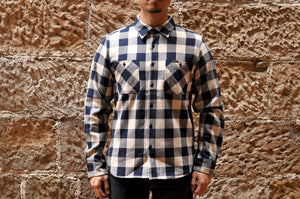 IRON HEART 14OZ ULTRA HEAVY FLANNEL WORK SHIRT (NAVY X IVORY)