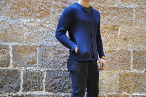 Full Count Indigo Dyed Thermal Cardigan