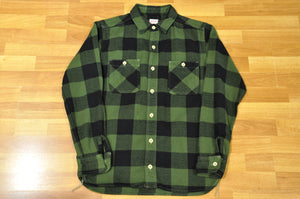 Momotaro 11oz Heavy Flannel Work Shirt (Olive)