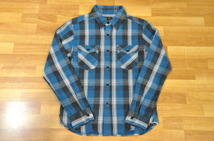 UES 14oz Heavy Flannel Work Shirt (Ocean Blue)