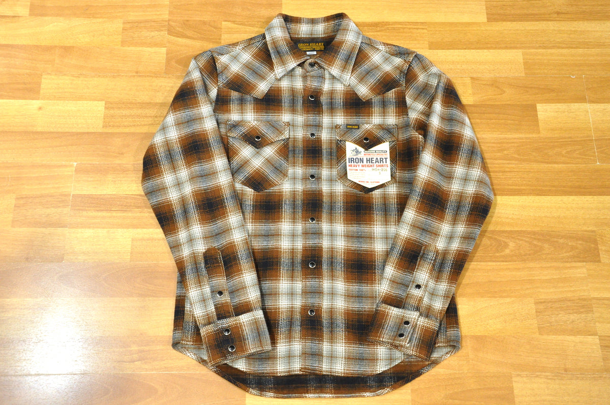 a9a194d8204 Iron Heart 14oz Ultra Heavy Flannel Western shirt (Brown) - CORLECTION