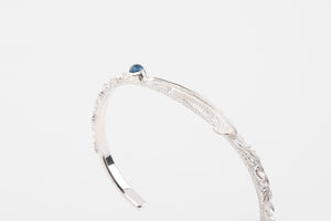 Legend 5mm 'Flora' Silver Bangle With Mini Feather & Blue Topaz