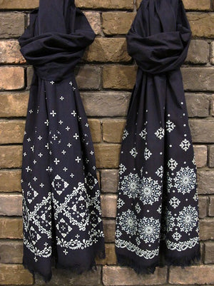 Pure Blue Japan Indigo Dicharge Printed Jersey Scarf