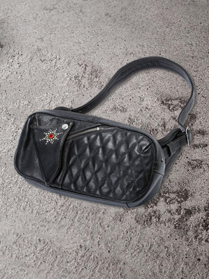"The Flat Head ""Sunburst"" Horsehide Shoulder Bag (Black)"