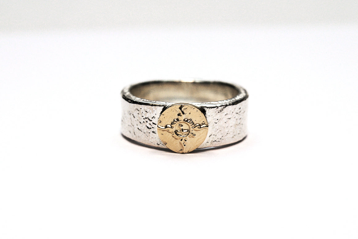 First Arrow's 8mm 'Bare Rock' Silver Ring with 18K Gold Emblem