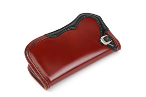 The Flat Head Improved Version Semi-Long Cordovan Wallet (Whisky Body With Black Contrast)