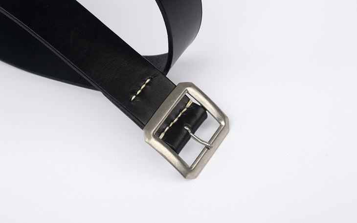 Warehouse 'Garrison' Cowhide Belt (Black)