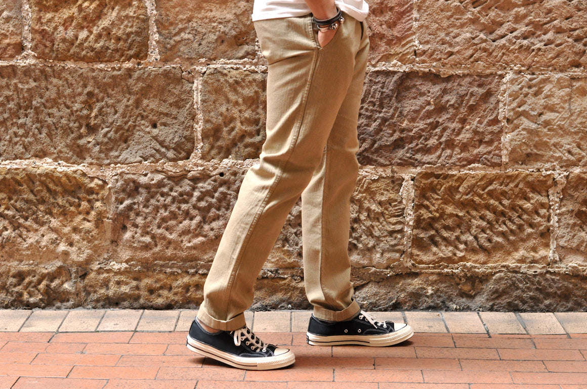 Pure Blue Japan X Corlection 12oz 'Wood Grain' Slim Chinos (Beige X Navy)