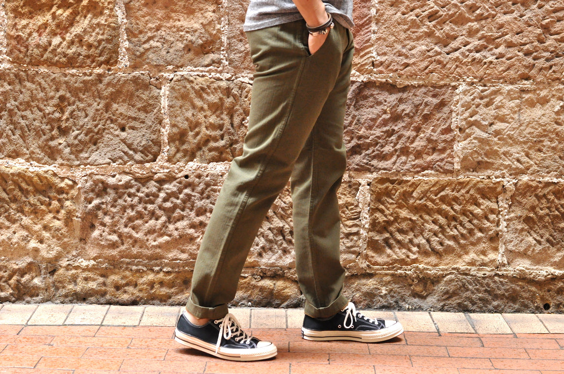 Pure Blue Japan X Corlection 12oz  'Wood Grain' Slim Chinos (Olive X Camel)