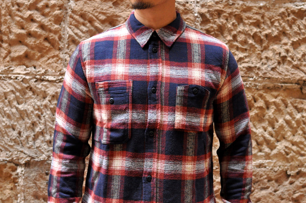Pure Blue Japan Indigo Check Flannel Workshirt (Indigo X Red)