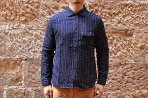 Pure Blue Japan Indigo Striped Wabash Gauze C.P.O Shirt