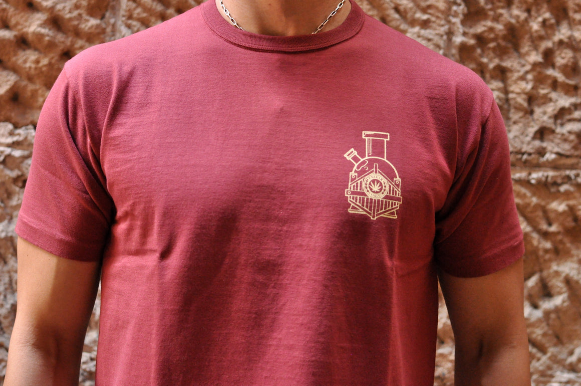 Unique Garment 'Have a Good Trip' Loopwheel Tee (Burgundy)