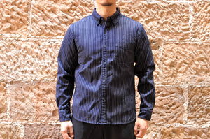 Momotaro 11oz Indigo Striped HBT Oxford Shirt
