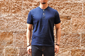 "Pure Blue Japan 7oz Indigo Dyed ""Slub Yarn"" Henley Tee"