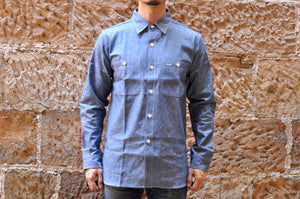 Warehouse 9oz Indigo 'Triple Stitched' Chambray Work Shirt (Indigo)