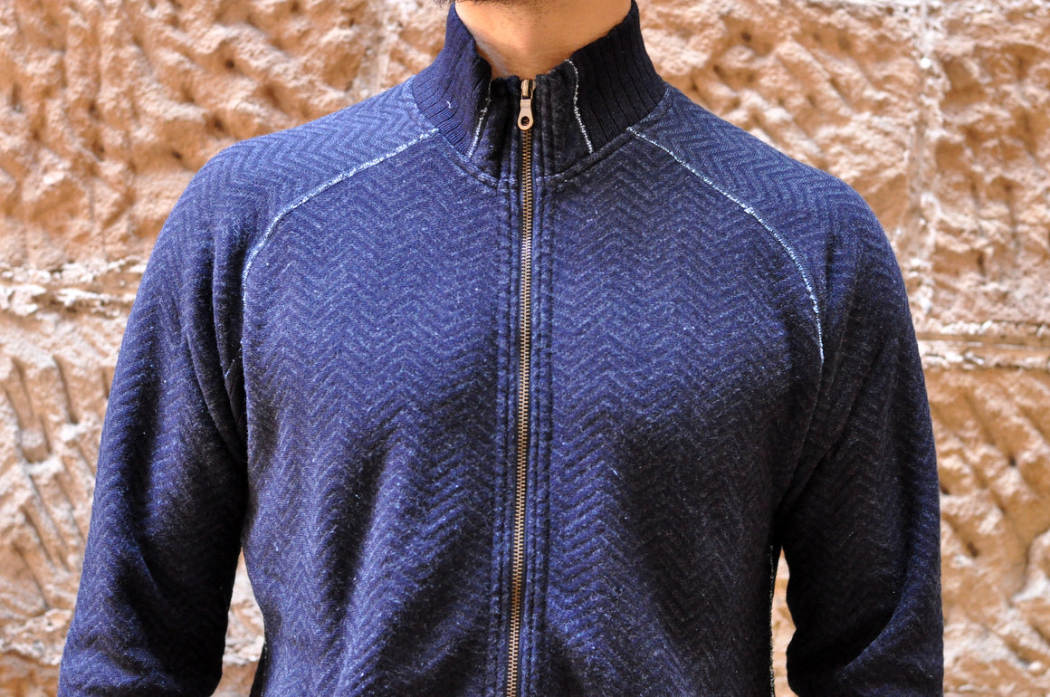 Pure Blue Japan Indigo Herringbone Track Jacket