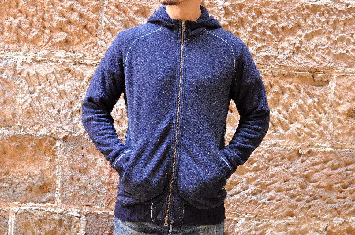 Pure Blue Japan Indigo Herringbone Hoody