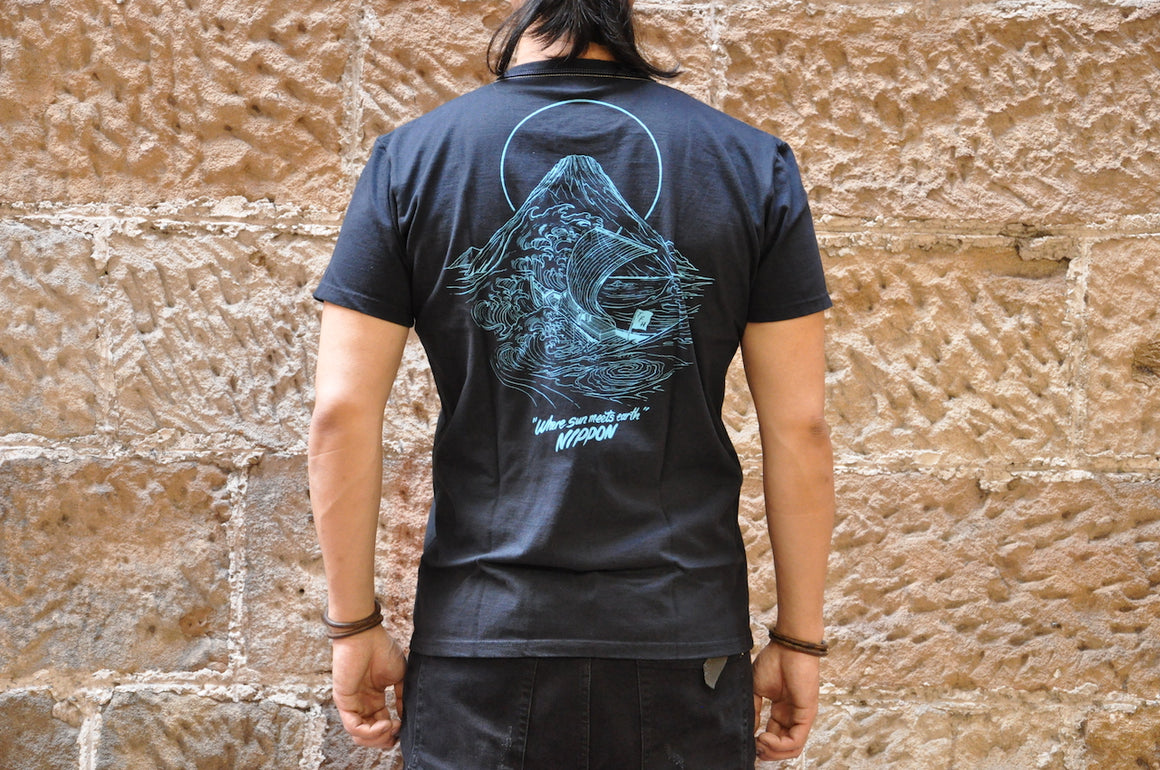 "The Flat Head X CORLECTION 7oz ""Edge Of The World""Loopwheeled Tee(Black)"