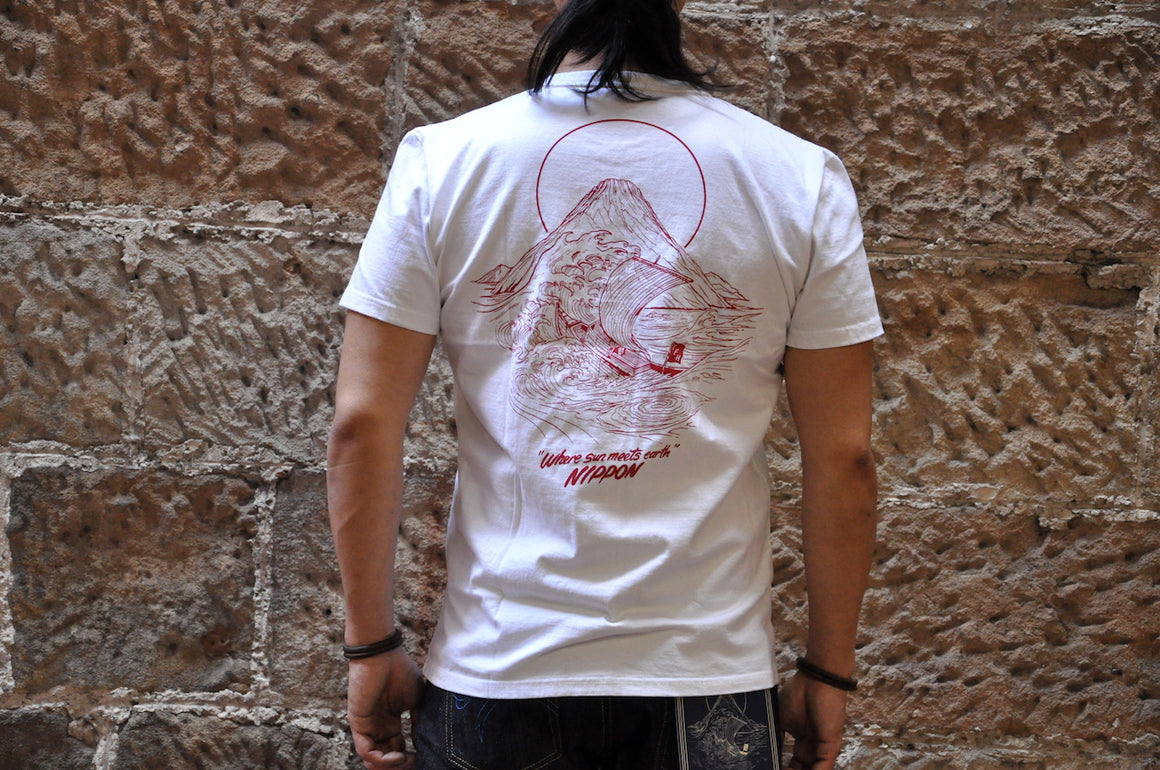 "The Flat Head X CORLECTION 7oz ""Edge Of The World""Loopwheeled Tee(White)"