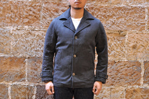 Momotaro Bedford Cord Short Pea Coat (Salt & Pepper)