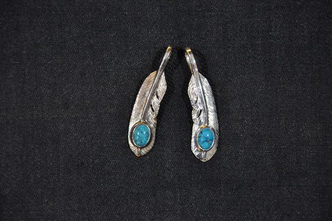 "First Arrow's ""Small Feather With Turquoise"" Pendant (P-006)"