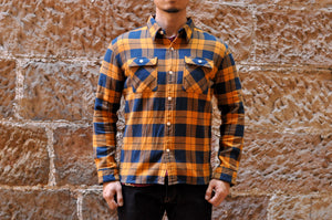 The Flat Head 12oz Selvage Flannel Workshirt (Orange)