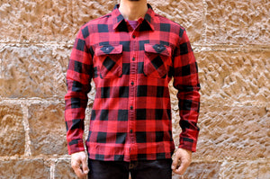 The Flat Head 12oz Selvage Flannel Workshirt (Red)