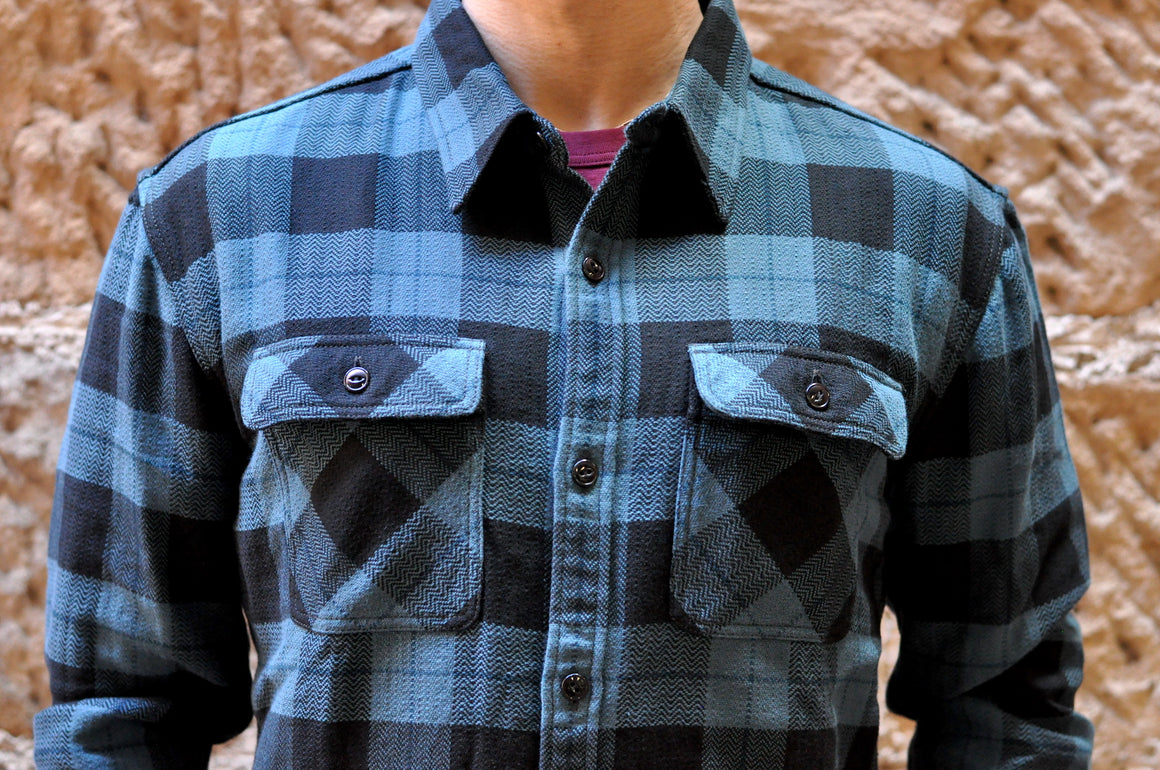 The Flat Head 12oz Selvage Flannel Workshirt (Blue)