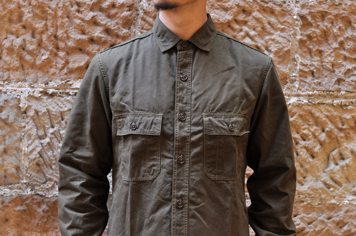 "Freewheelers ""Army Utility"" Weather Paraffin Shirt (Olive)"