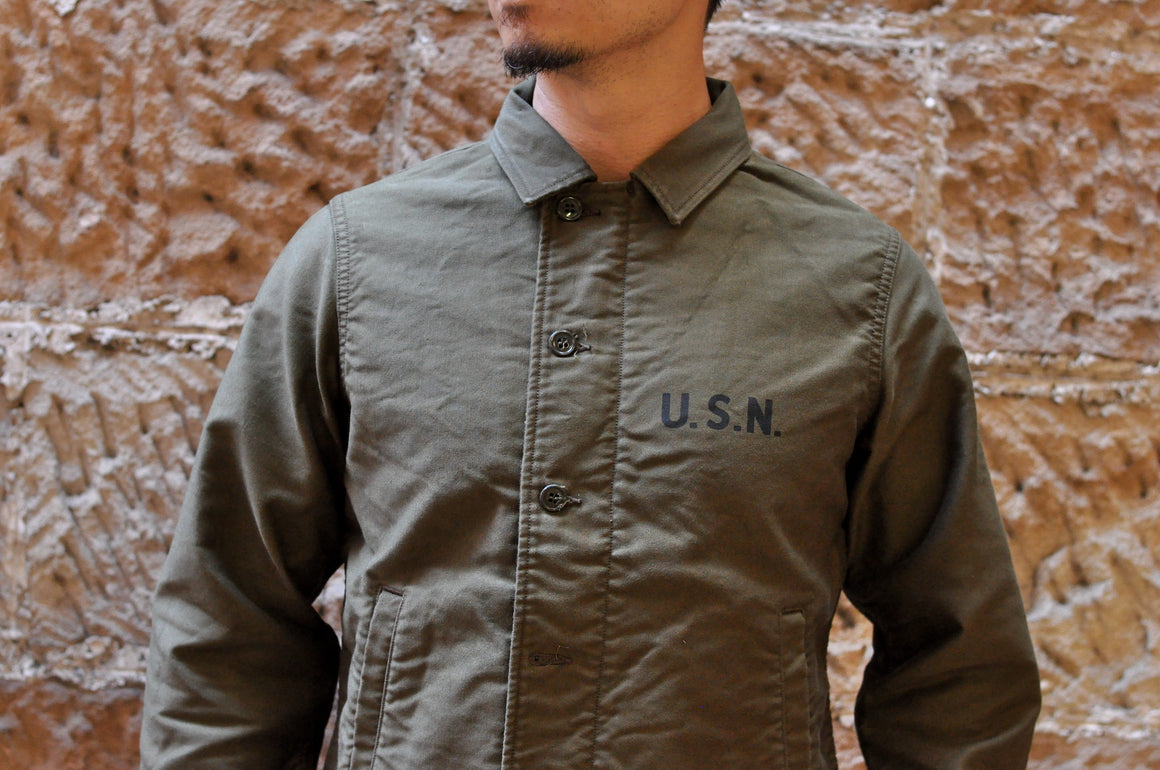 "Freewheelers USN ""DECK"" Worker Jacket (Olive)"