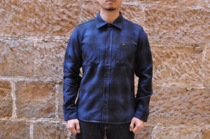 Iron Heart 14oz Ultra Heavy Flannel Check Work Shirt (Navy X Black)