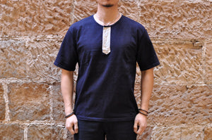 Orgueil 9oz Loopwheeled Henley Tee (Grand Indigo)