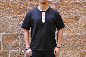 Orgueil 9oz Loopwheeled Henley Tee (Sumi Black)