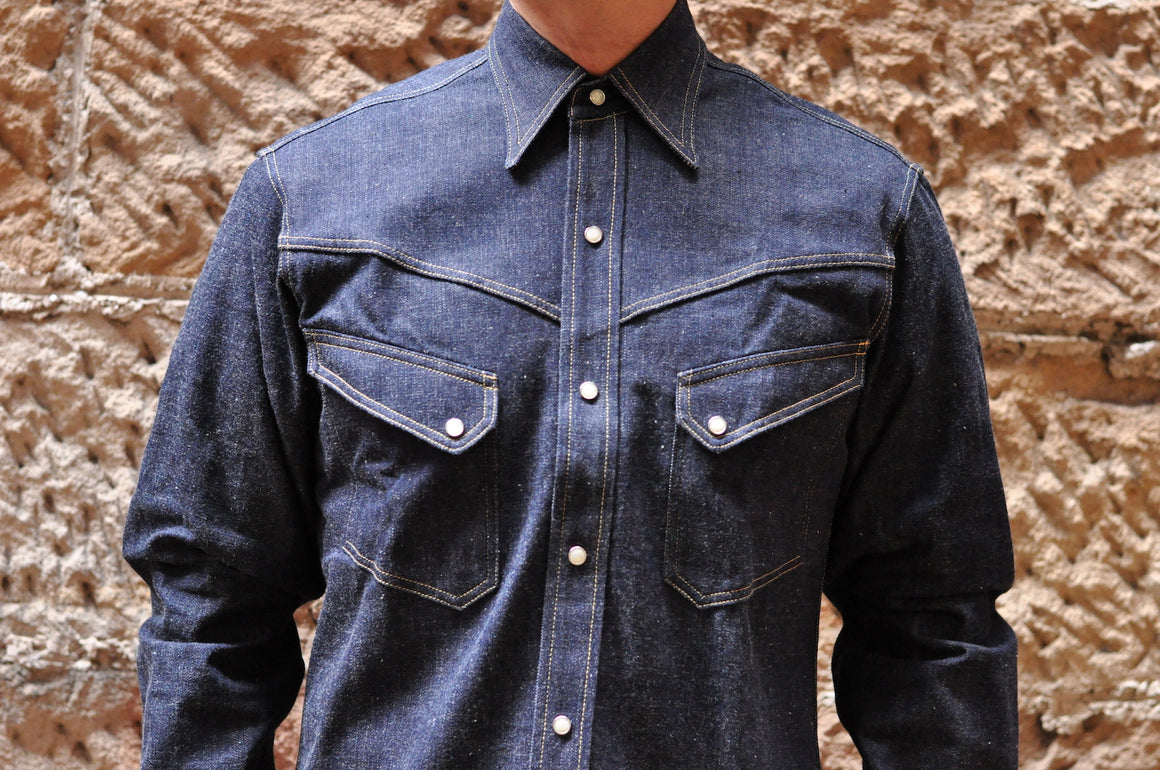 Warehouse 12oz 'Long-Horn' Denim Western Shirt