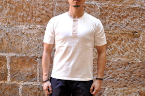 Orgueil 9oz Loopwheeled Henley Tee (White)