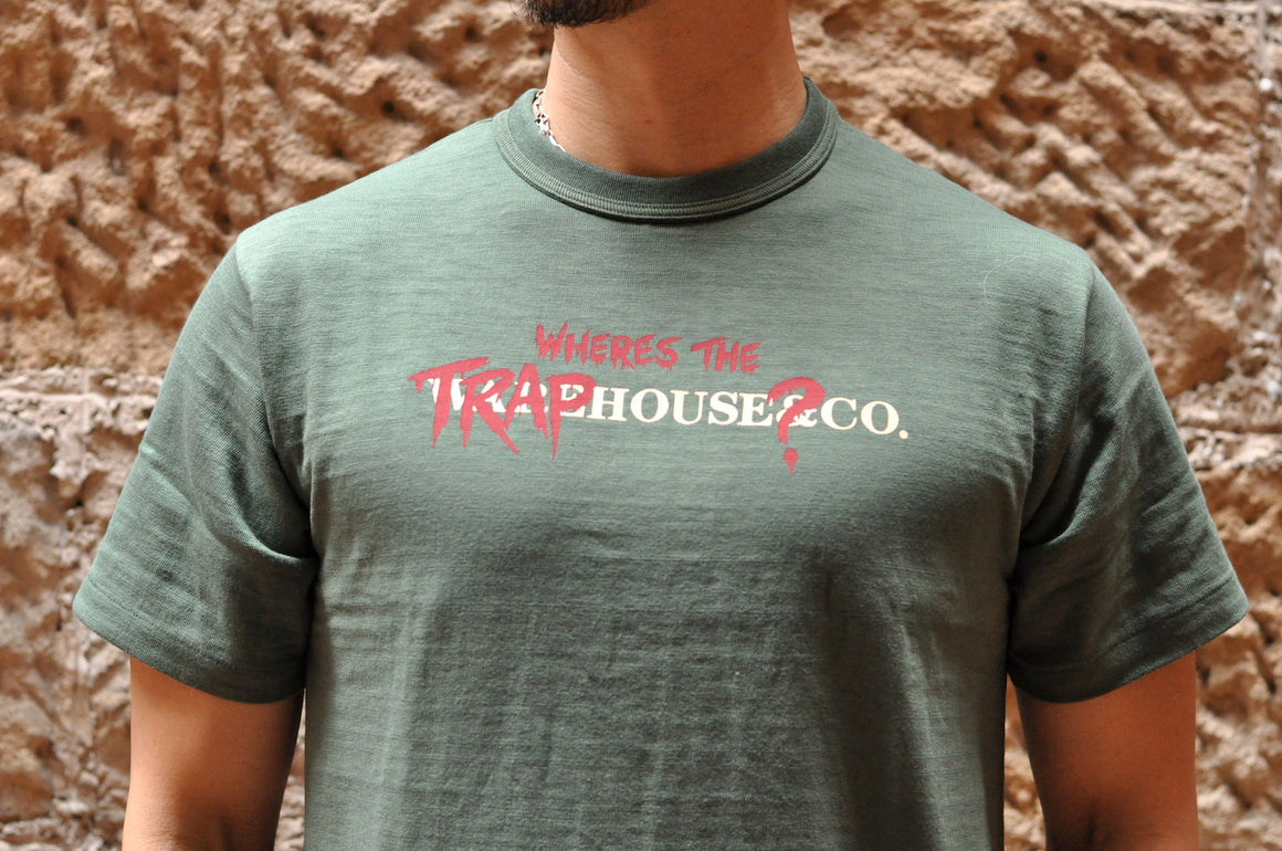 Warehouse X CORLECTION 5.5oz 'Traphouse' Loopwheeled Tee (Olive)