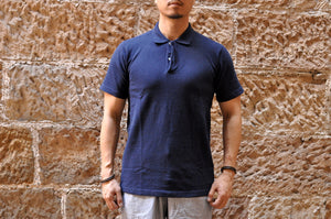 Studio D'Artisan 'Tsuri Ami' Loopwheeled Polo Shirt (Navy)