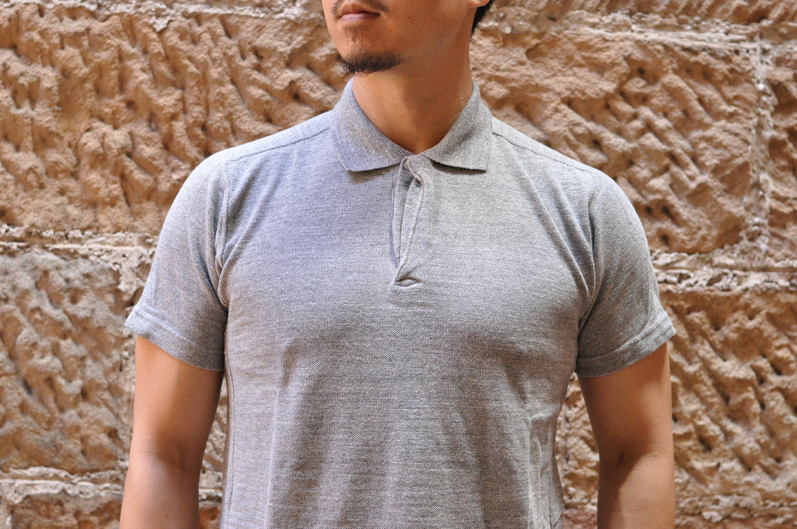 Studio D'Artisan 'Tsuri Ami' Loopwheeled Polo Shirt (Grey)