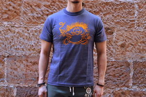 Warehouse 5.5oz 'Turn Me On'  Loopwheeled Tee (Navy)
