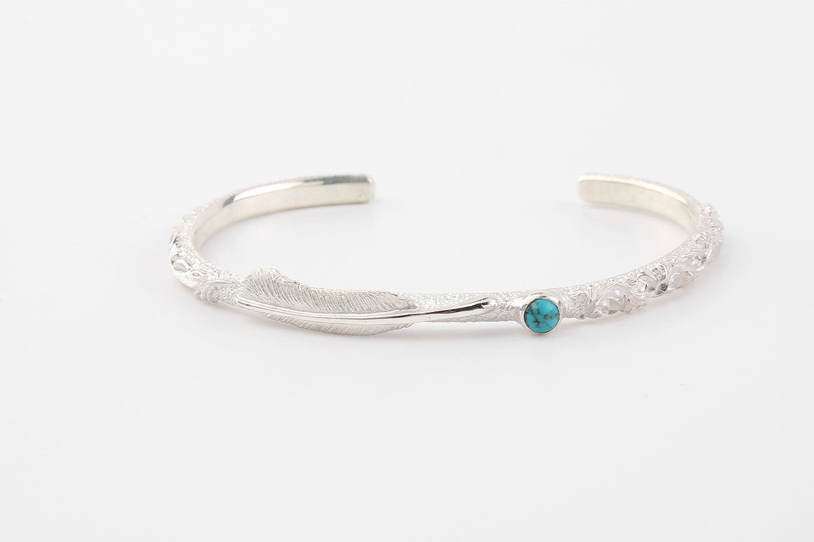Legend 5mm 'Flora' Silver Bangle With Mini Feather & Turquoise