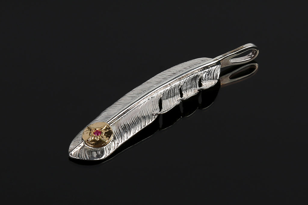 First Arrow's Silver 'Large Feather' Pendant with 18K Gold Emblem and Ruby (P-002J)