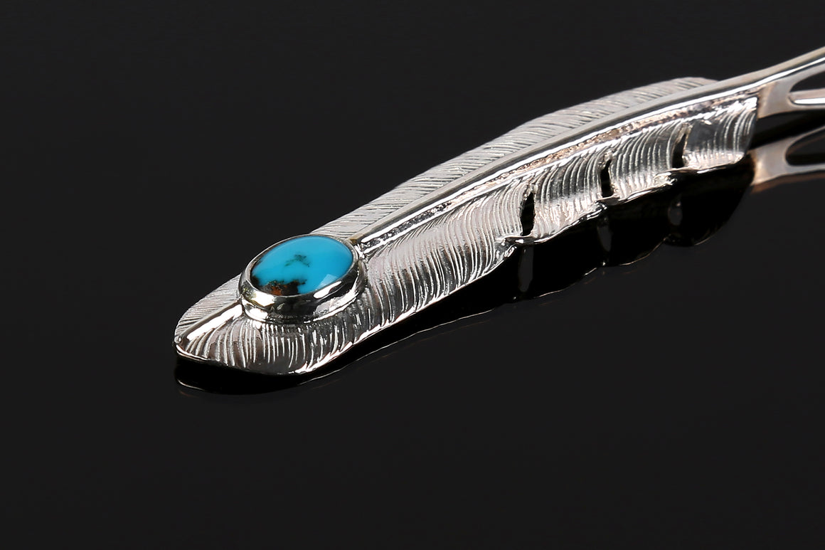 "First Arrow's ""Large Feather With Turquoise"" Pendant (P-003)"