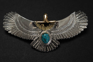 First Arrow's Medium Eagle Pendants with Natural Turquoise & 18K Gold Head & Heart (P-510)