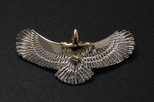 First Arrow's Small Eagle Pendants with 18K Gold Head & Heart (P-513)