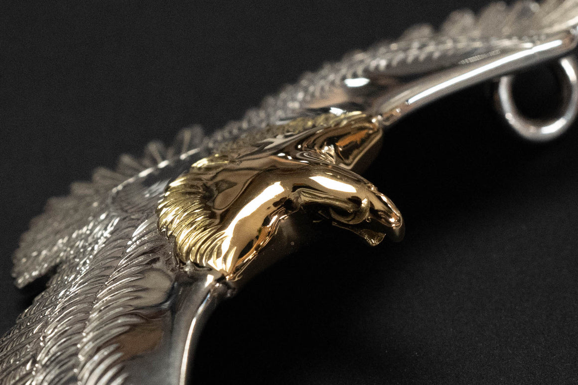 First Arrow's Large Eagle Pendants with 18K Gold Head & Heart (P-400)