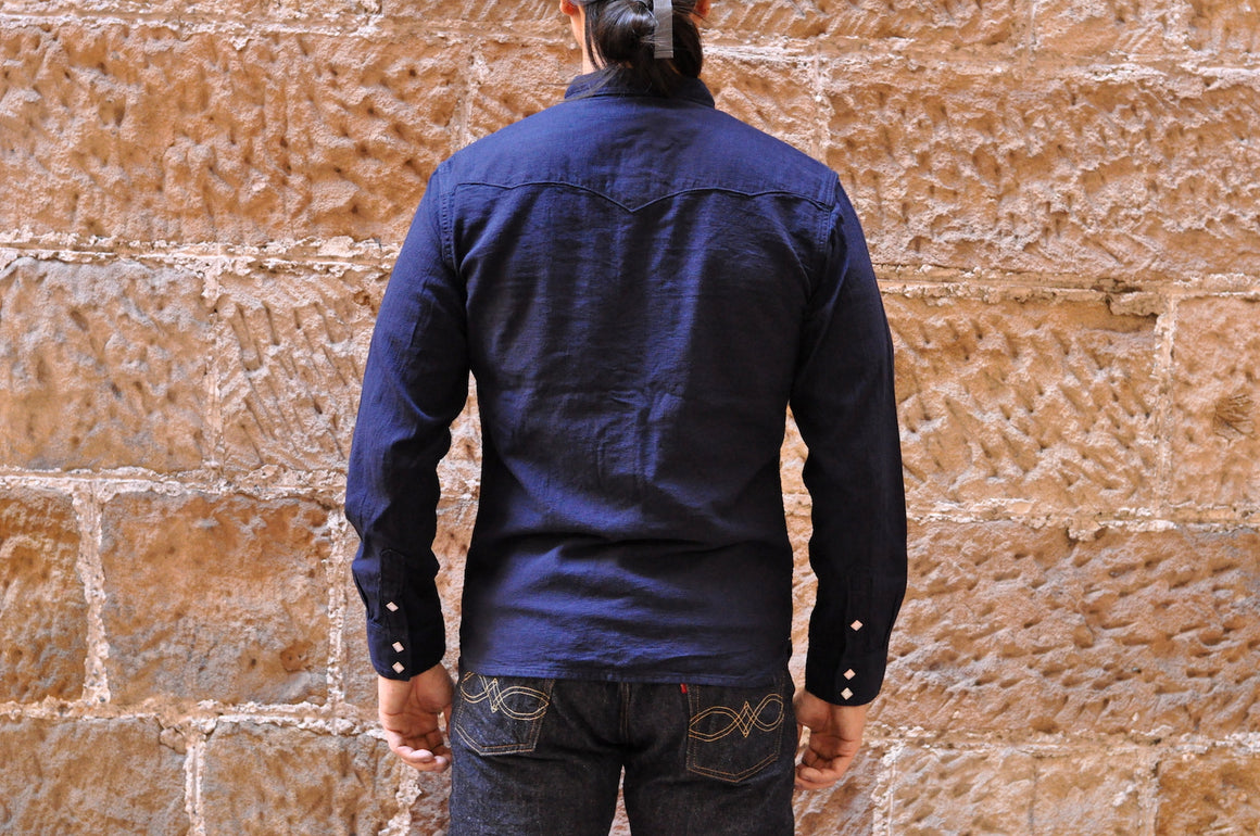 The Flat Head 8oz Indigo Dobby Western Shirt