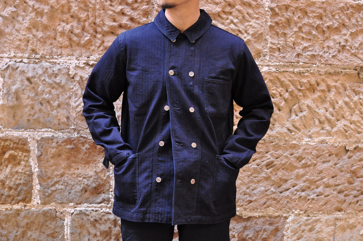 Pure Blue Japan Indigo HBT Short Chore Jacket