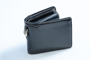 The Flat Head Half Fold Cordovan Wallet (Black)