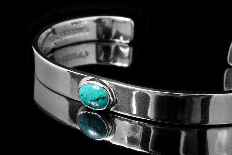 First Arrow's 8mm Silver Bungle with Turquoise (BR-017)
