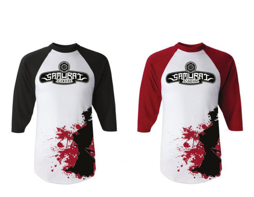 Blood Splatter Ronin Baseball Tee  by Samurai Modz